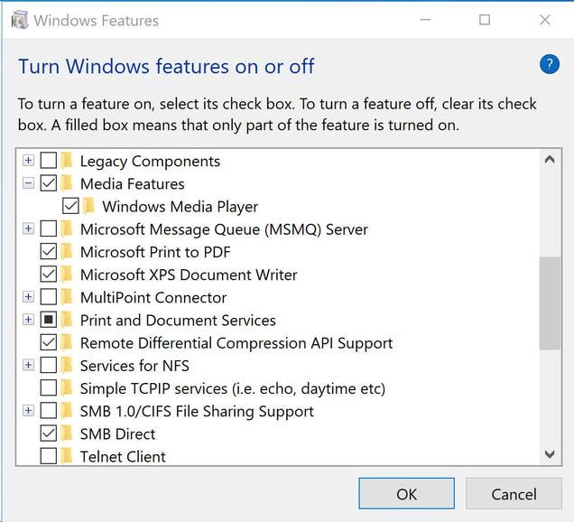 Remove a few more legacy features using this dialog box