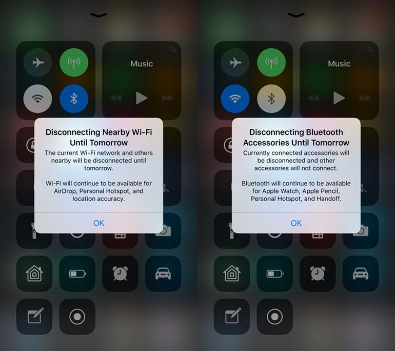 Wi-Fi/Bluetooth popups in iOS 11.2 beta 3