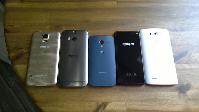 Back of the S5, M8, Moto X, Fire, and G3