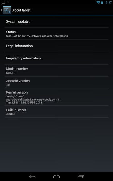 About screen on Nexus 7