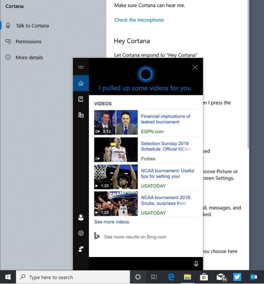 Cortana spins off from Search