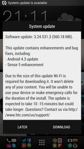 T-Mobile HTC One 4.3 update now available, Sense 5.5 not included