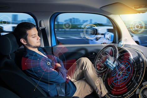 Sleeping driver in autonomous car.