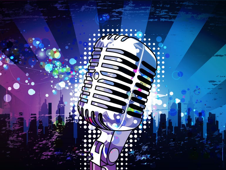 microphone with urban background