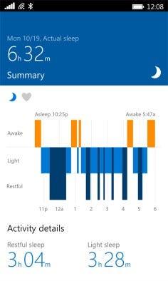 Microsoft Band 2 Sleep record