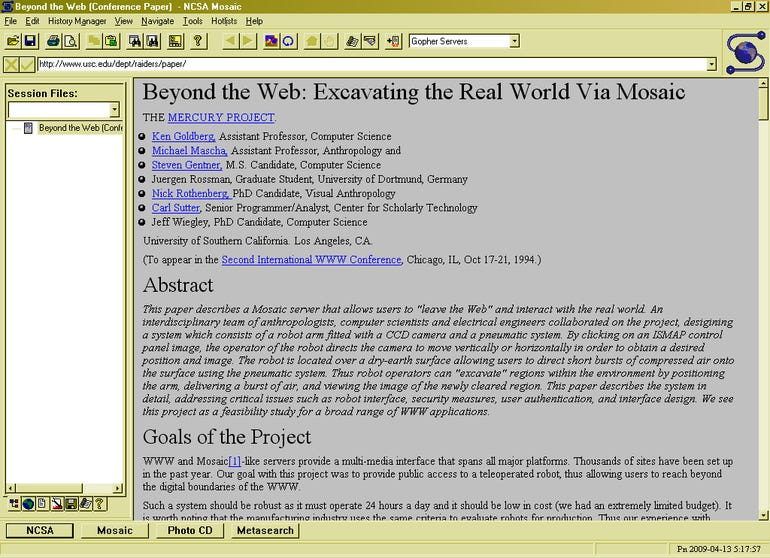 1993: Mosaic web browser