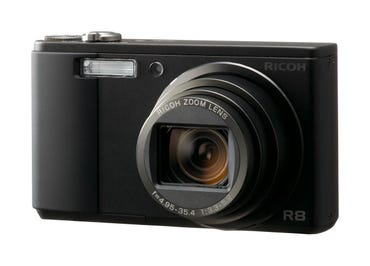 New Ricoh R8 sports wide 7.5x zoom lens in a compact body.