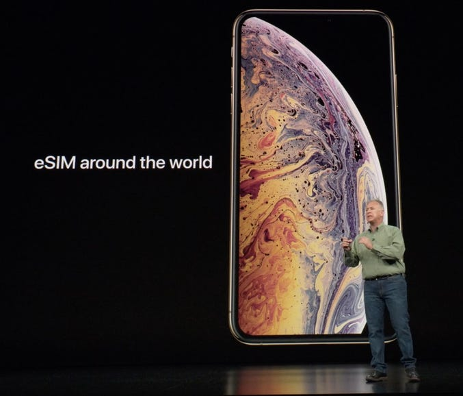 First most of the world, the iPhone XS and iPhone XS Max will feature one physical SIM and one eSIM