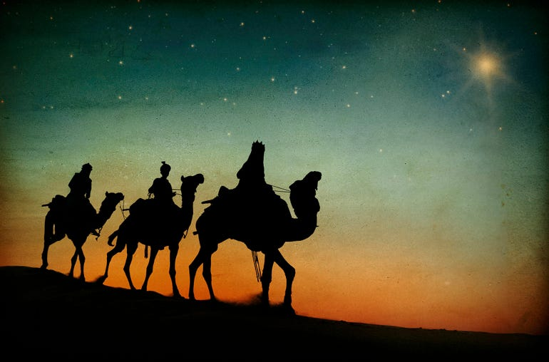 The three kings following the star.