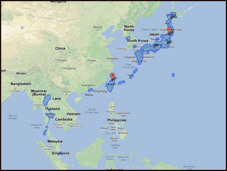 Where Google Street View is available in Asia