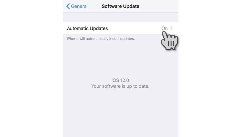 Switch on automatic iOS updates