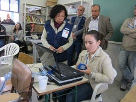 Transferring census data at a collection post in Rio de Janerio
