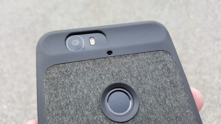 Upper back of the Nexus 6P case