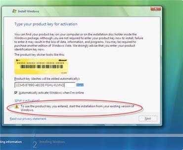 Windows Vista setup error for upgraders