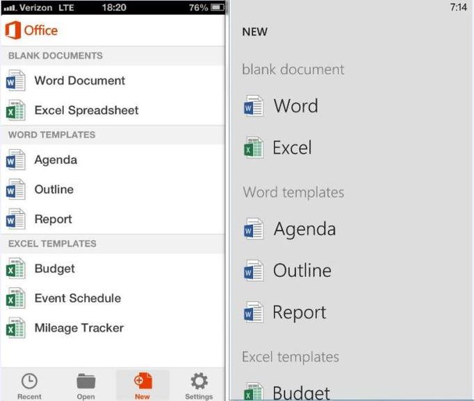 Create a new document: iOS vs WP