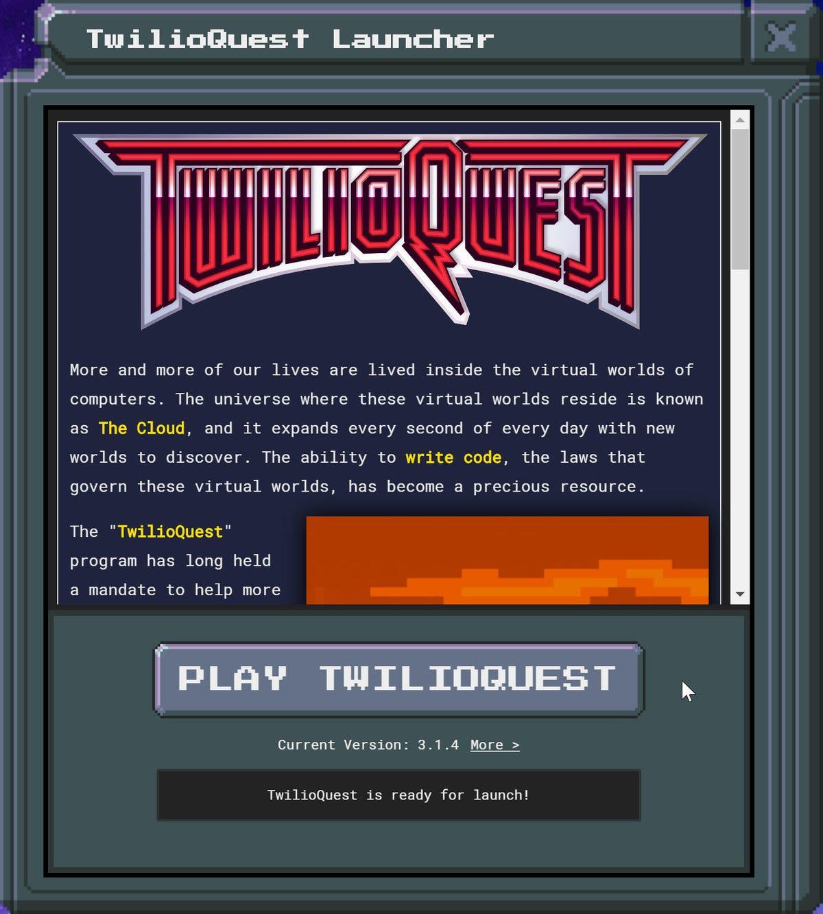 TwilioQuest start screen