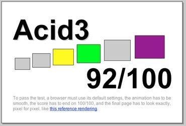 Acid 3: Webkit nightly r31114 (18 March 2008) scores 92/100