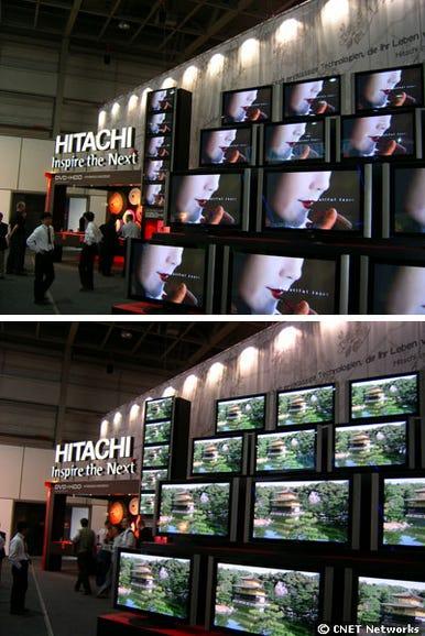 Flat-screen TVs at Hitachi booth