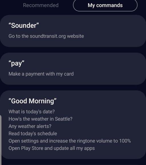 My custom Bixby Quick Commands