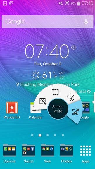 Air Command menu on the home screen