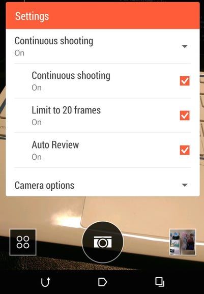 Instant burst mode/continuous shooting