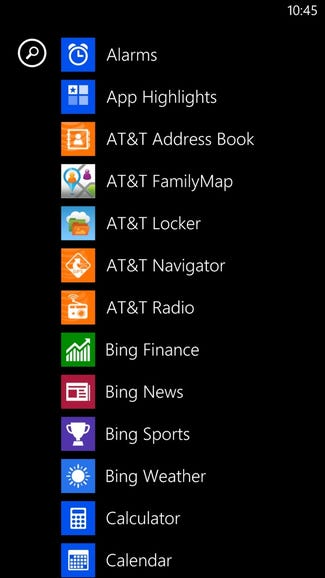 Lots of AT&T apps loaded out of the box