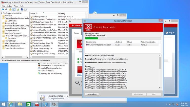 Windows Defender detects Superfish
