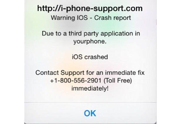 Scam iOS crash warnings