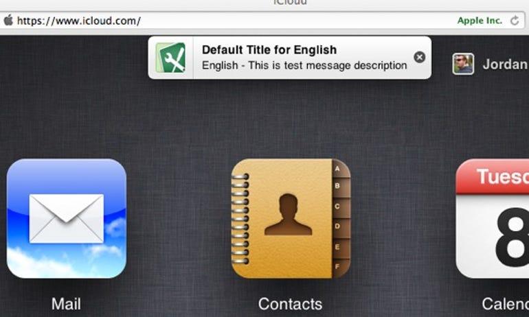 iCloud Notification banner on Safari - Jason O'Grady
