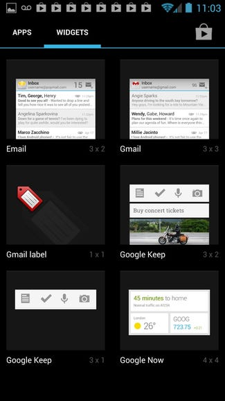 Available widgets on Google Edition One