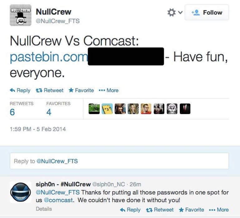 Comcast hacked tweet