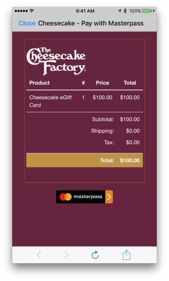 Shopping Cart: The Cheesecake Factory