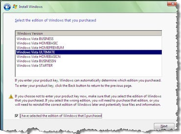 Choose a Vista edition