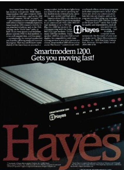 You want speeds faster than 300 BPS? Hayes had you covered