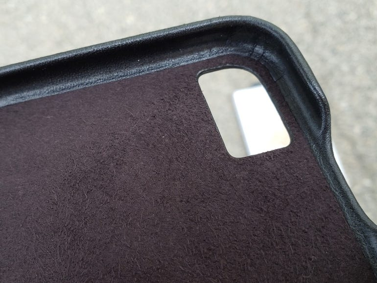 Inside of the Barely There Leather case