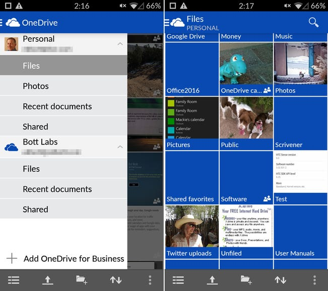 OneDrive (personal and business)