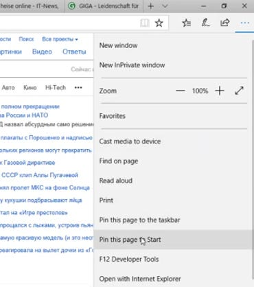 Windows Live Tiles Edge menu