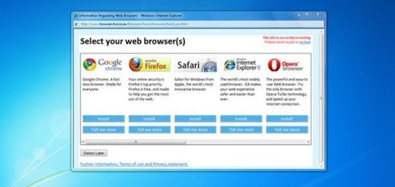 Microsoft's 'browser ballot' screen for Windows users in Europe