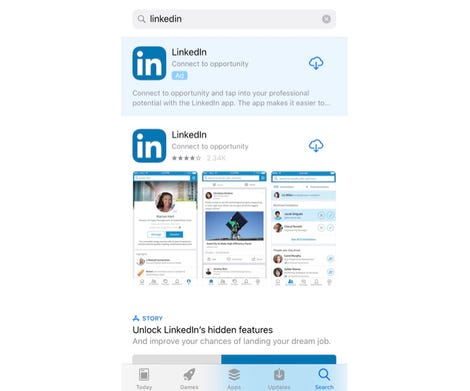 App Store results for a search for the LinkedIn app