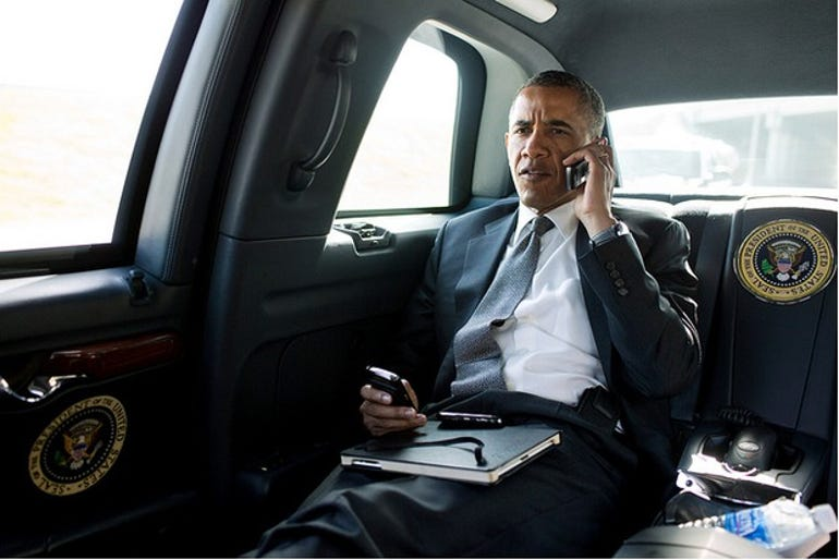 Obama with his BlackBerry