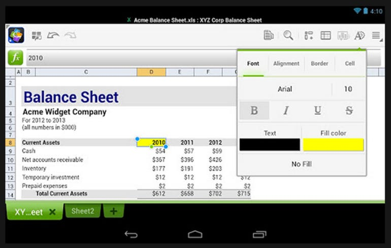 Quickoffice spreadsheet