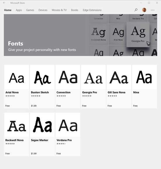 You can now shop for fonts in the Microsoft Store
