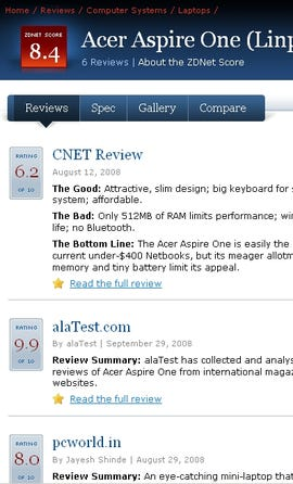 ZDNet Reviews Beta (detail)