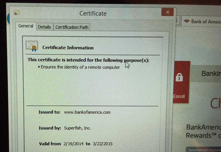 A Superfish certificate claiming to be Bank of America