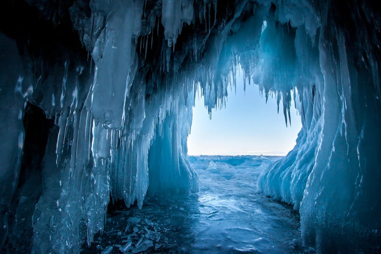 View from the ice cave on Lake Baikal
