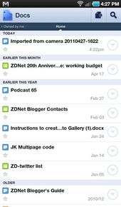 Docs list view- swipe to move to different views of docs