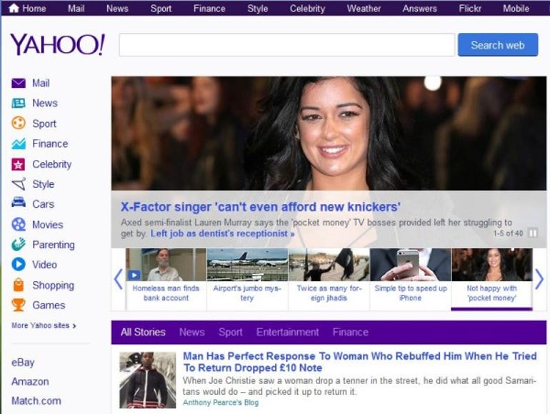 Yahoo's front page