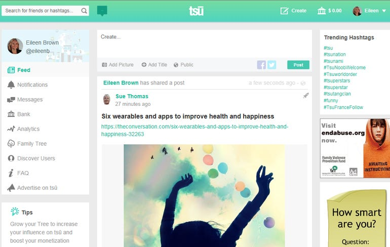 New social network Tsu shares ad revenue with content creators ZDNet Eileen Brown