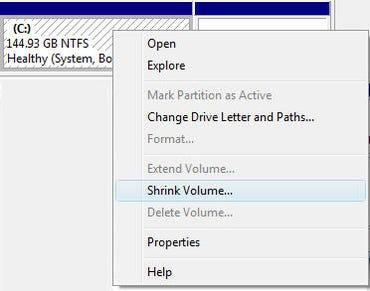 Shrink disk volume menu in Vista