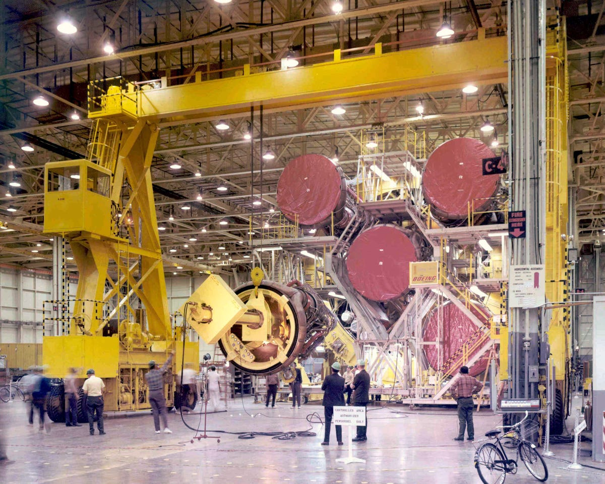 Boeing's work on the Saturn first stage booster took place at NASA's Michoud Assembly Facility near New Orleans. Parts for the booster were shipped to Michoud from the company's Wichita plant, as well as from subcontractors around the country. (Boeing Photo)